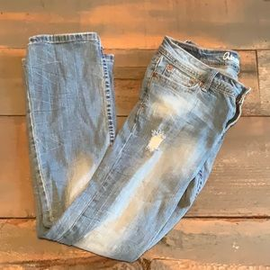 Aeropostale boot cut distress style ripped jeans